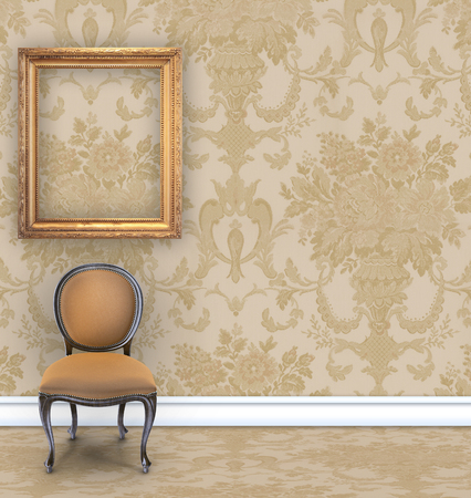 boudoir: Room with tan  damask wallpaper, a velvet chair, and an empty gold picture frame with room for text
