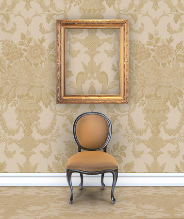 boudoir: Wall with rich tan damask wallpaper, a velvet chair, and an empty gold picture frame