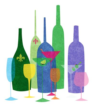 Colorful textured stylized illustration of wine and cocktails on a white background Banco de Imagens