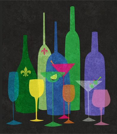 Colorful textured stylized illustration of wine and cocktails on a black background