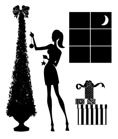 Fashion illustration of a stylish young woman decorating a Christmas tree with a pile of gifts nearby