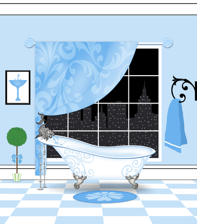 curlicues: Cute illustration of a powder-blue bathroom with a vintage claw-foot tub and a city skyline view
