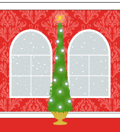 windows: Christmas Tree in a room with red damask wallpaper and Palladian windows with snow outside Stock Photo