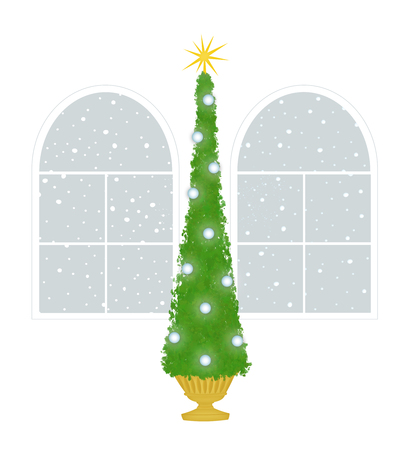 Christmas Tree with Palladian windows with snow outside on a white background Stock Photo