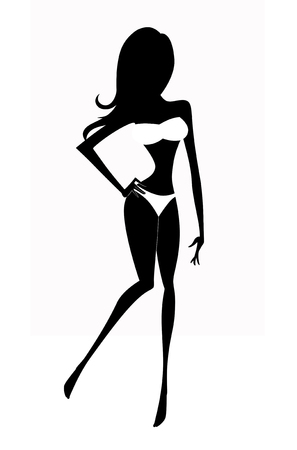 Silhouette of a young shapely woman in a white bathing suit