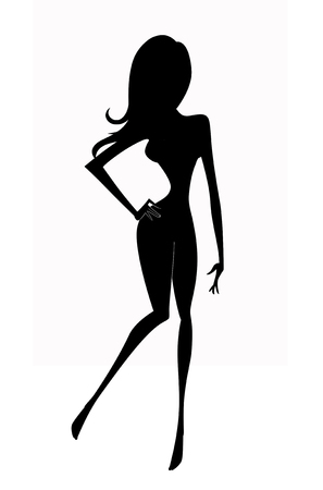 Silhouette of a young shapely woman striking a pose