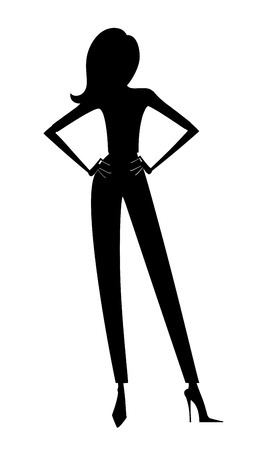 Fashion silhouette of a stylish young woman in pants and high heels
