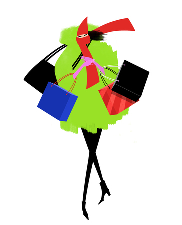 Fashion illustration of a chic woman walking on a windy winter day with shopping bags Stock Photo