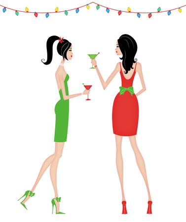 멋진 파티를 여는 두 명의 세련된 여성