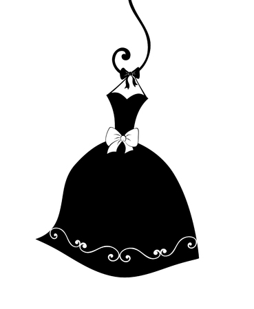 curlicues: Fashion illustration of a cute strapless party dress hanging on a curlicue hook