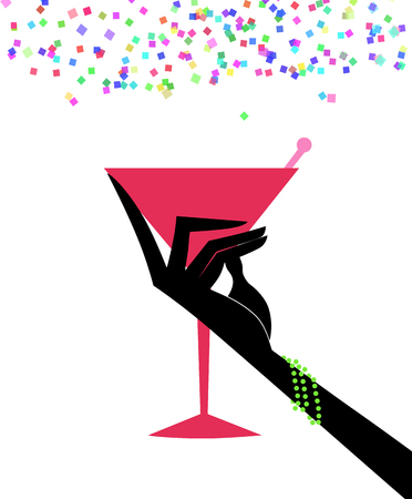 Womans hand in a black glove holding a cocktail with confetti raining down Stock Photo