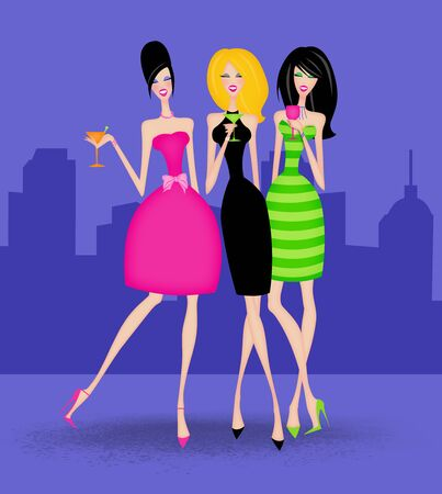 Fashion illustration of Girlfriends out for the evening with a city skyline background
