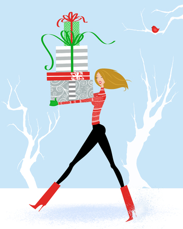 Fashion illustration of a woman striding through the snow with a big stack of Christmas gifts  Stock Photo