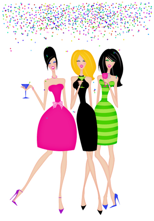 Fashion illustration of girlfriends with cocktails at a celebration  Stock Photo