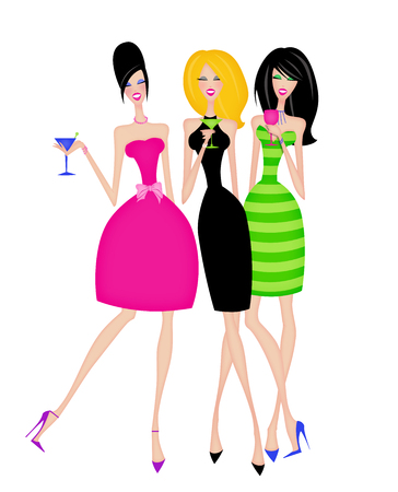 Fashion illustration of Girls Night Out Stock Photo