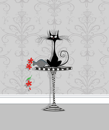 Humor illustration of a startled cat on a table with an overturned flower vase