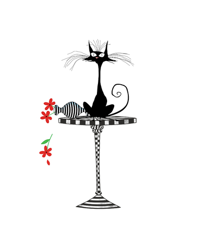 Humor illustration of a startled cat on a table with an overturned flower vase isolated on white