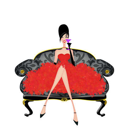 Beautiful woman in a frilly party dress on a damask sofa isolated on white