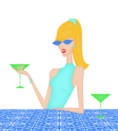 Pretty blonde woman having a cocktail leaning on a bue tile countertop or table Stock Photo