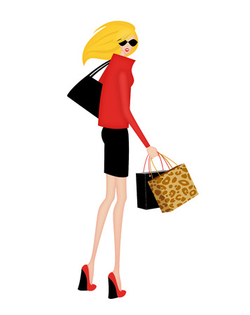 Trendy young woman with shopping bags turning around to look back, isolated on white Stock Photo