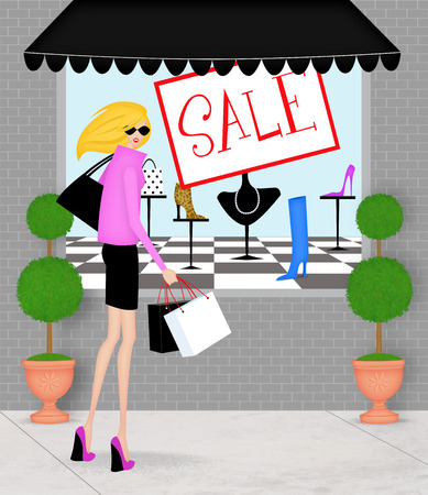 Trendy young woman shopping at a boutique clothing sale