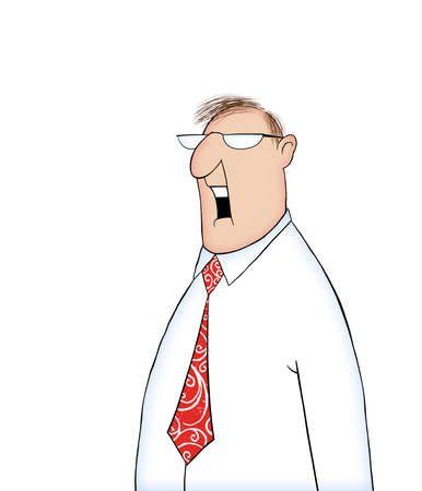 Cartoon of a man in a shirt and tie with mouth open talking or shouting