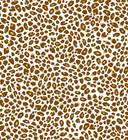 Hand-drawn animal print background of brown leopard spots on white