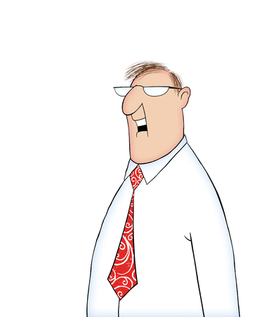 Cartoon of a man in a shirt and tie with mouth smiling or laughing