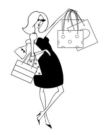 Fashion illustration of a chic young blonde in a sun dress with shopping bags