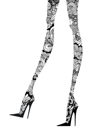 Fashion Legs with intricate ink lines in high heels