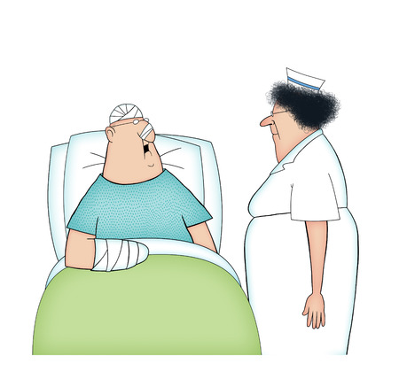 Humor illustration of a bandaged male hospital patient talking to a nurse Stockfoto