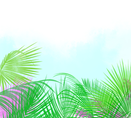 Tropical palm leaves and hot pink flowers background