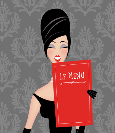 Retro fashion illustration of a stylish woman reading a menu in a restaurant with damask wallpaper