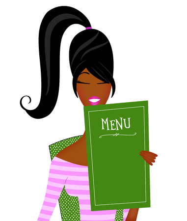 Cute fashion illustration of a trendy young black woman with a ponytail reading a menu Stockfoto