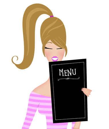Cute fashion illustration of a trendy young woman with a ponytail reading a menu Stockfoto