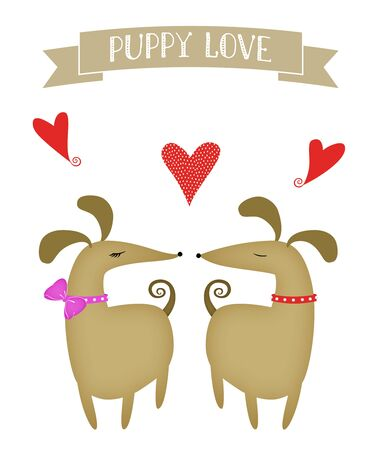 Illustration of a girl dog and a boy dog with hearts Stockfoto