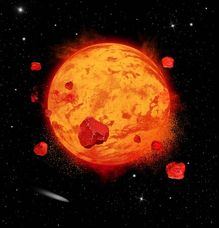 Illustration of a hypothetical lava planet expoding in deep space Stockfoto