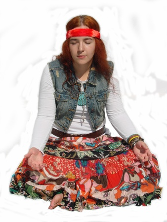 Hippie Girl Sitting Banque d'images