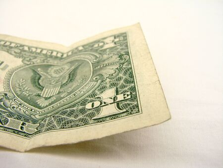 Single Dollar Bill Geïsoleerd Terug Stockfoto