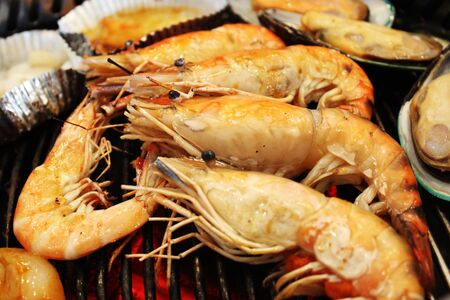grilled shrimp background Stock Photo