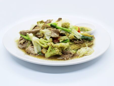 Fried Rice with Vegetables THAI food background.