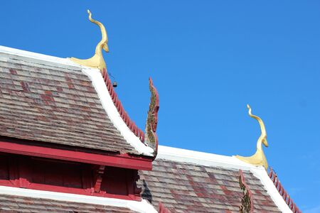 Roof Thai temple  in mountain Thailand