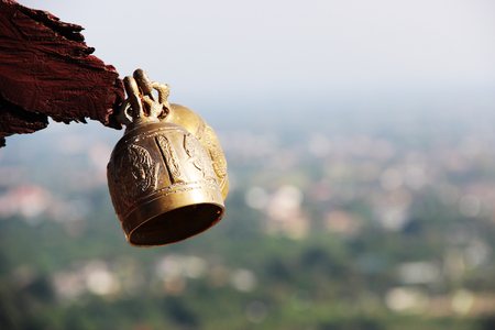 Bell in temple mountain Thailand Background.