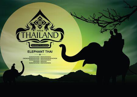 Thailandia posto silhouette con elefante colore di sfondo.