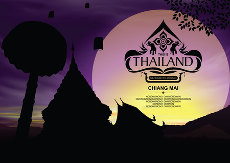 Thailand Place Silhouette with Chiang Mai Color Background.