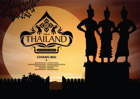 タイの場所はチェンマイ舞色の背景とシルエット。  イラスト・ベクター素材