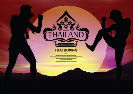 Thailand Place Silhouette with Thai boxing Color Background.