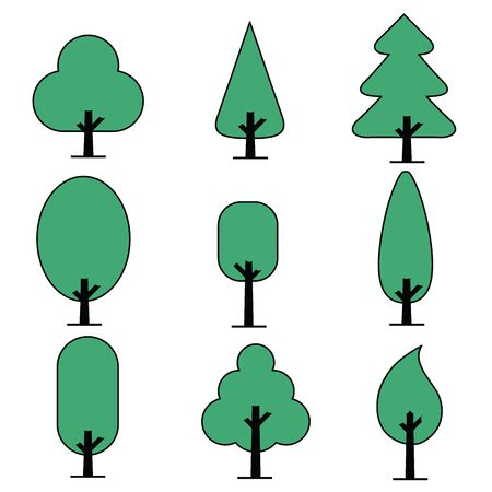 Leaves icon set isolated from the background. Collection Green of leaves. Leaves icon different shapes in modern flat style. Simple leaves tree. Illustration