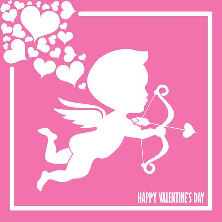Happy valentine day With heart and cupid On a pink background.