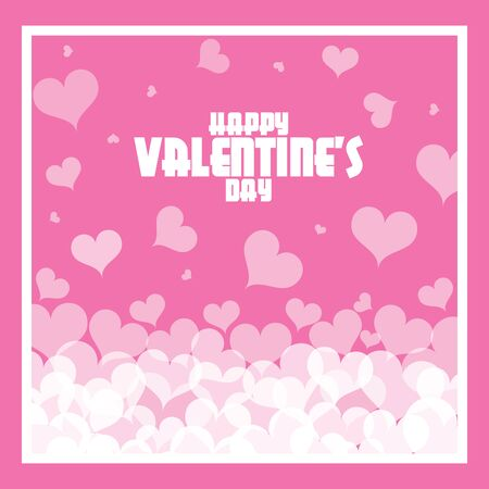 Happy valentine day with heart and cupid on pink background. Vettoriali